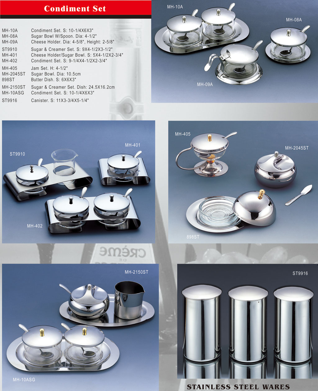 Stainless Steel Ware - Condiment Set