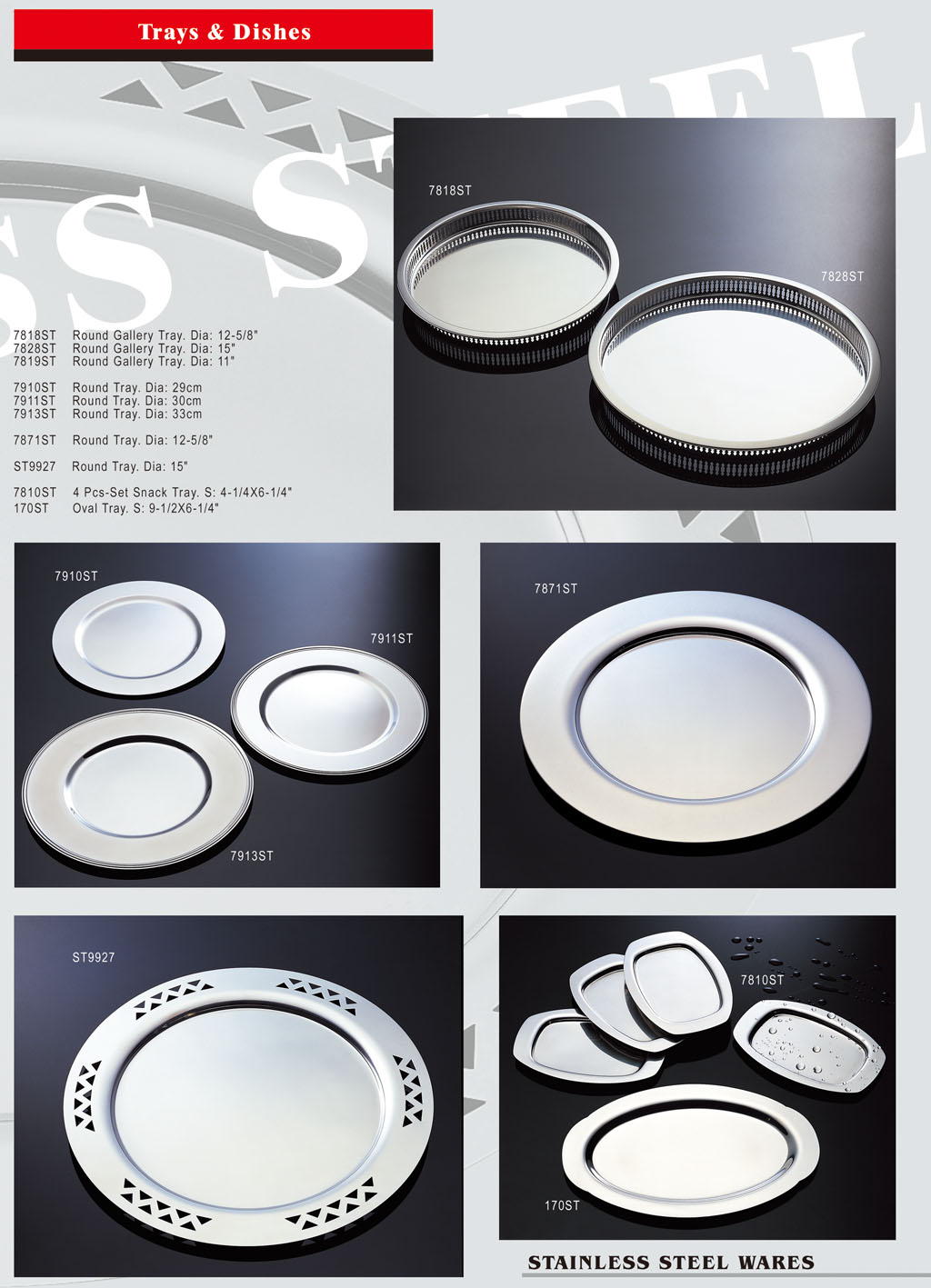 Stainless Steel Ware - Trays & Dishes